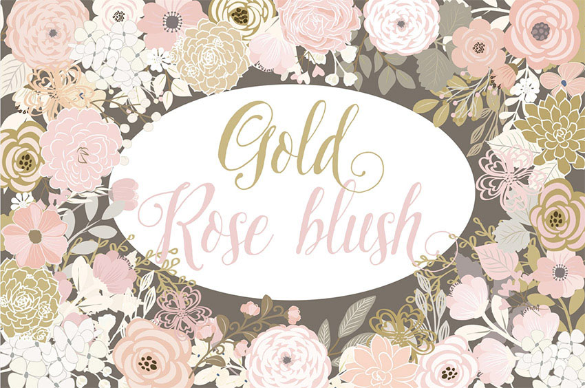 Vector Gold Rose Blush Floral Elements