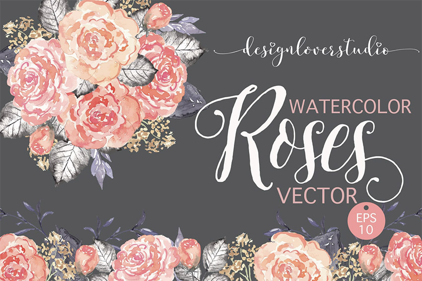 Vector Watercolor Coral Red Roses