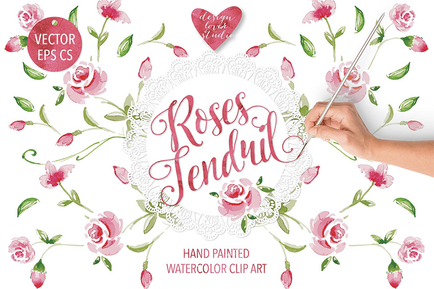 Watercolor Rose Tendril Design
