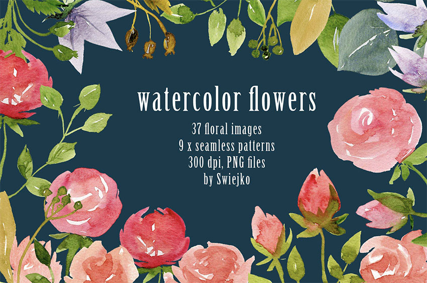 Watercolor Flowers and Backgrounds
