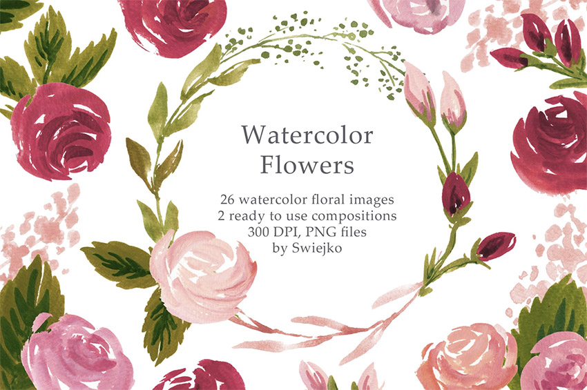 Watercolor Retro Flowers