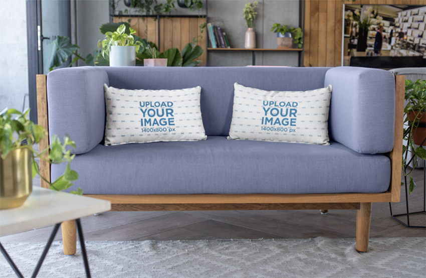 Mockup of Throw Pillows Placed over a Modern Sofa
