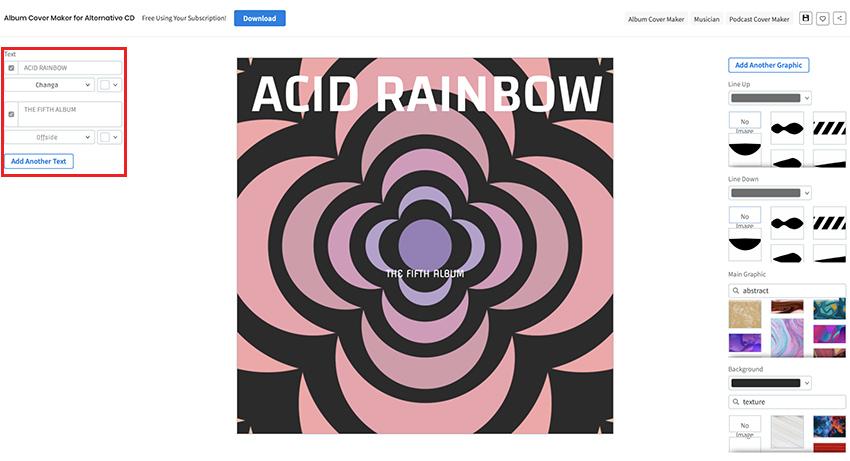 Enter your album text details and select fonts