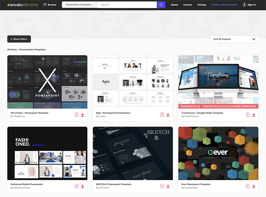 Top Presentation Templates on Envato Elements