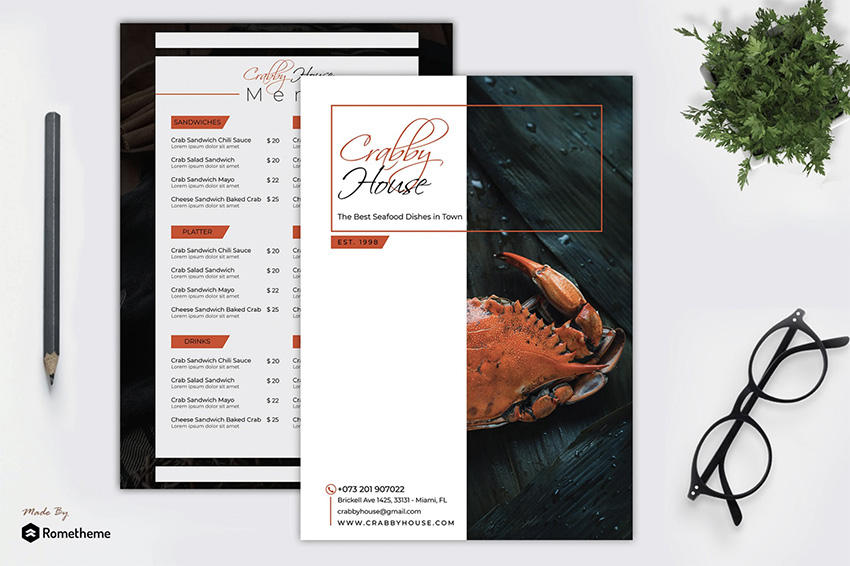 Crabby - Seafood Menu Template RY