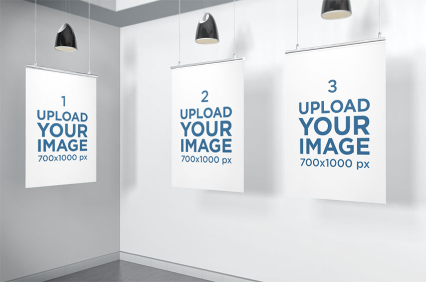 Mockup of Three Posters Inside a Minimalistic Scenario