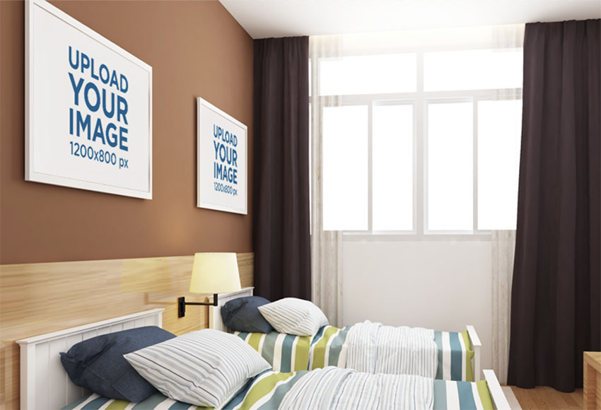 Mockup of Two Decorative Art Prints over a Bedroom Wa