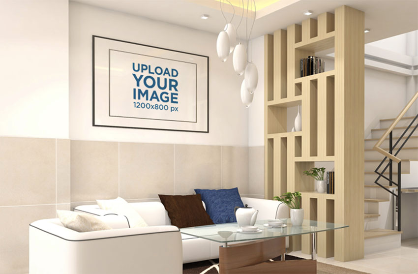 Mockup of a Decorative Art Print Frame on a Modern Living Room Wall