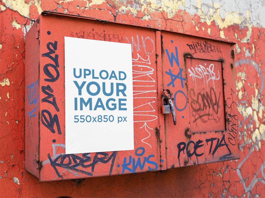 Mockup of a Poster Placed on a Graffiti Metal Box