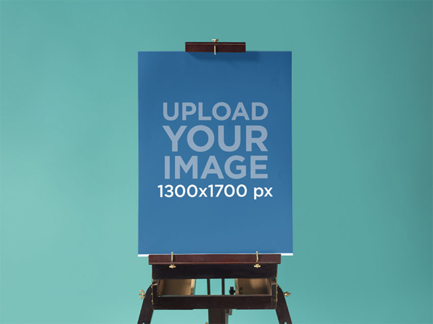 Poster Mockup at a Design Studio