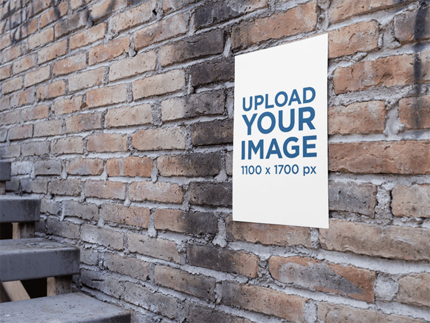 Poster on an Old Bricks Wall Near a Stairway Mockup