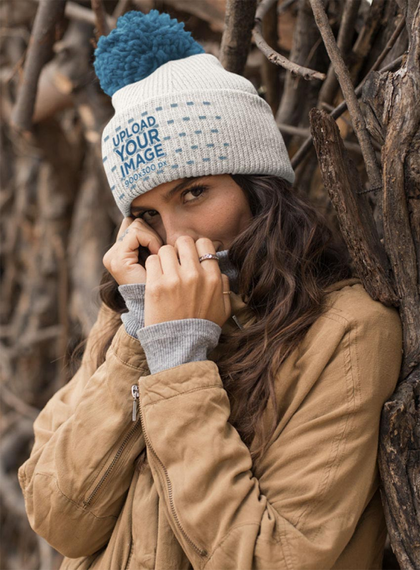 Beanie Mockup Featuring a Beautiful Woman