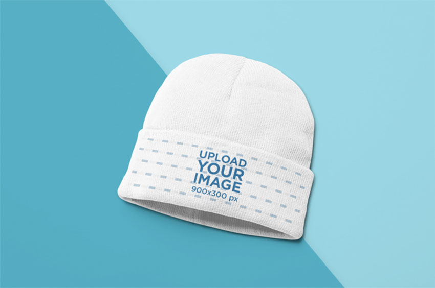 Beanie Mockup of a Bicolor Surface