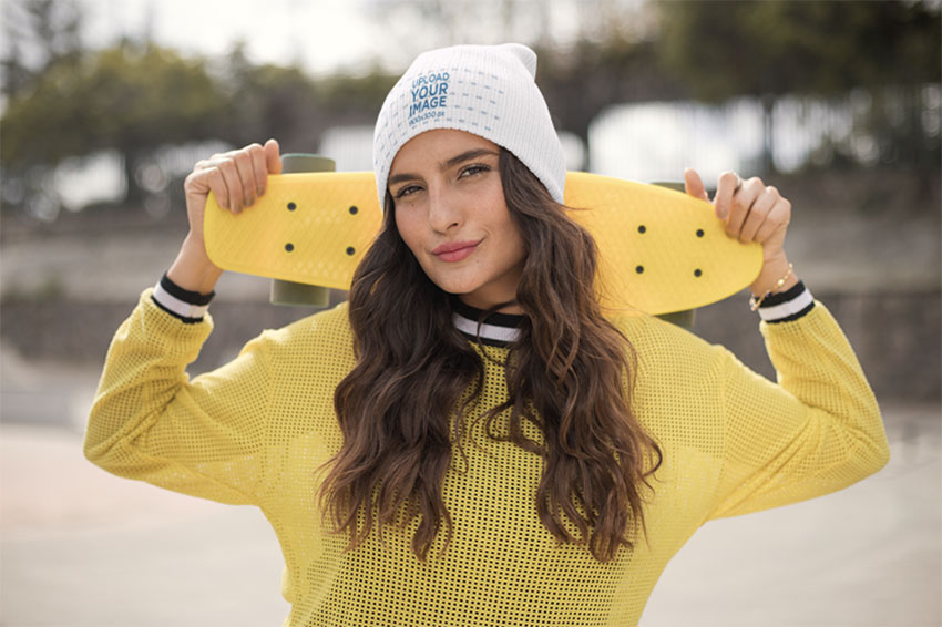 Beanie Mockup of a Gorgeous Skater Woman
