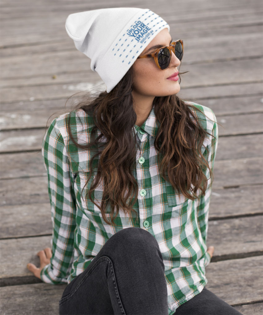 Beanie Mockup of a Woman Wearing a Green Plaid Shirt