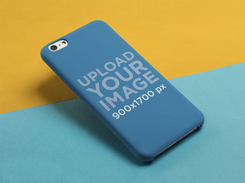 Mockup of an iPhone 6 Plus Case Over a Yellow and Blue Background