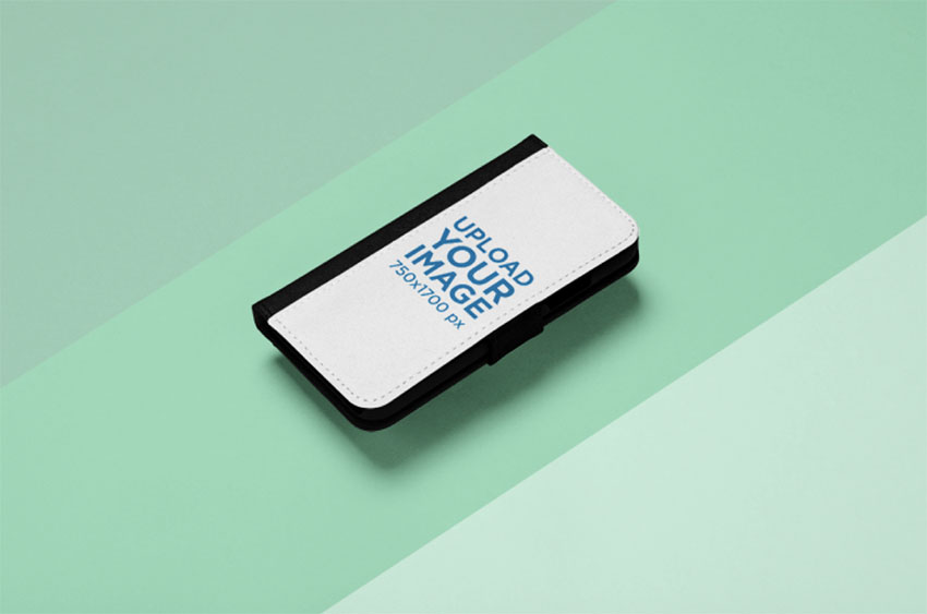 Mockup of an iPhone X Wallet Case on a Three Colored Background
