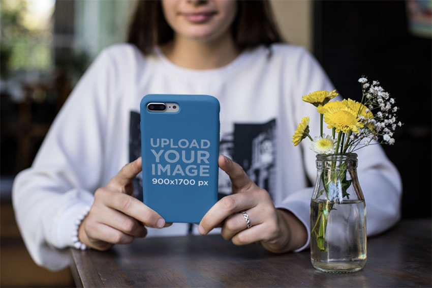 Phone Case Mockup Featuring a Woman Wearing a Silver Ring