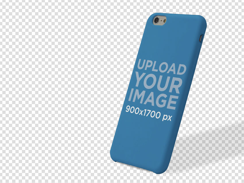Phone Case Mockup of an iPhone 6 Leaning Over a Null Background