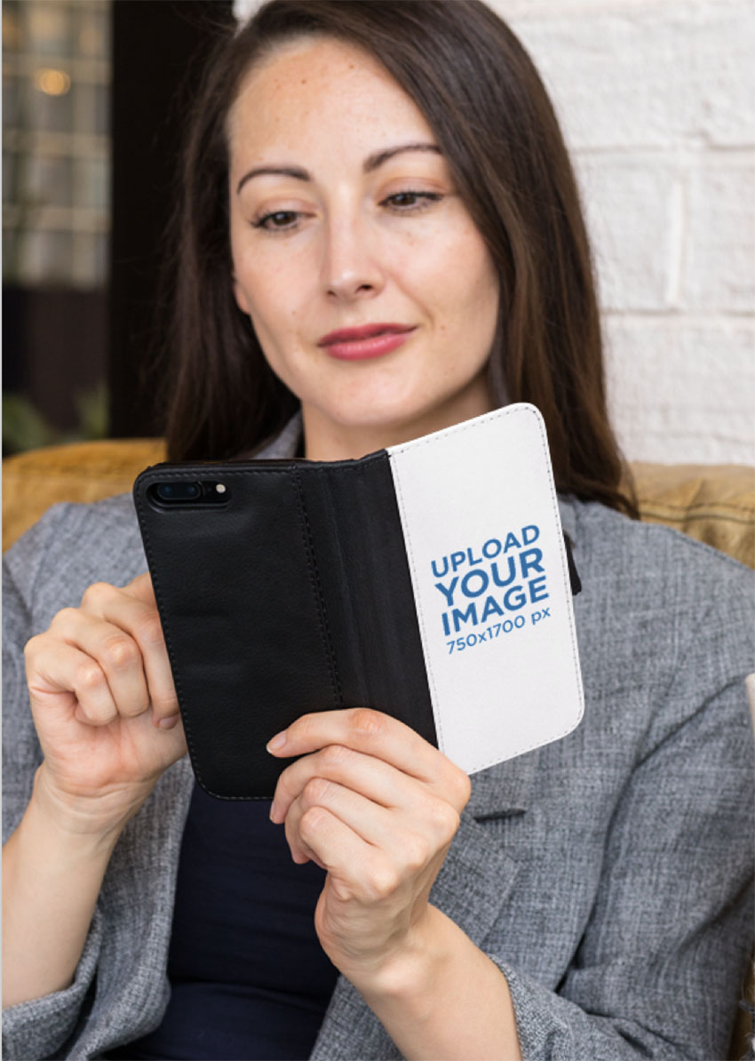 Wallet Case Mockup of a Woman Checking Her iPhone 8 Plus