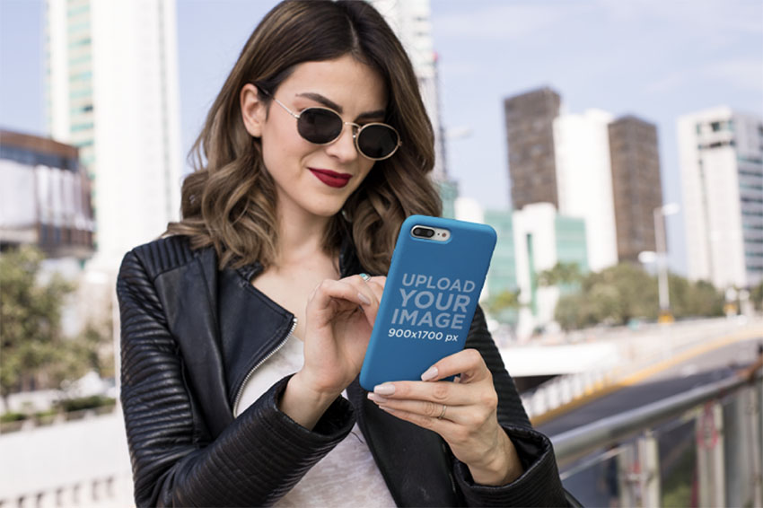 iPhone Case Mockup Featuring a Trendy Woman With Sunglasses