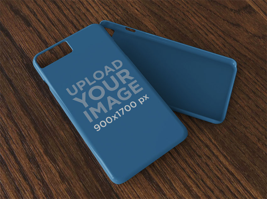 iPhone Case Mockup Lying Over a Wooden Surface