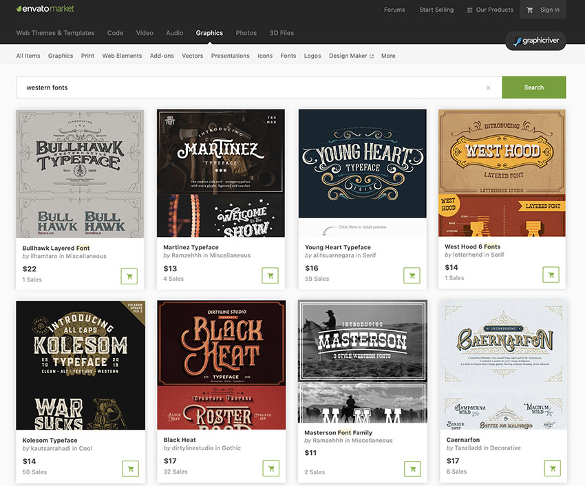 Best Source for Western Fonts Buy One at a Time