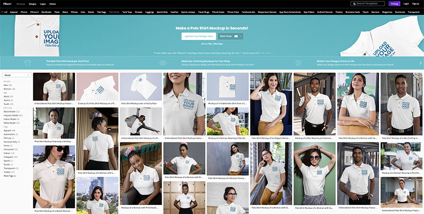 Navigate to Placeits Polo Shirt Mockup PagE