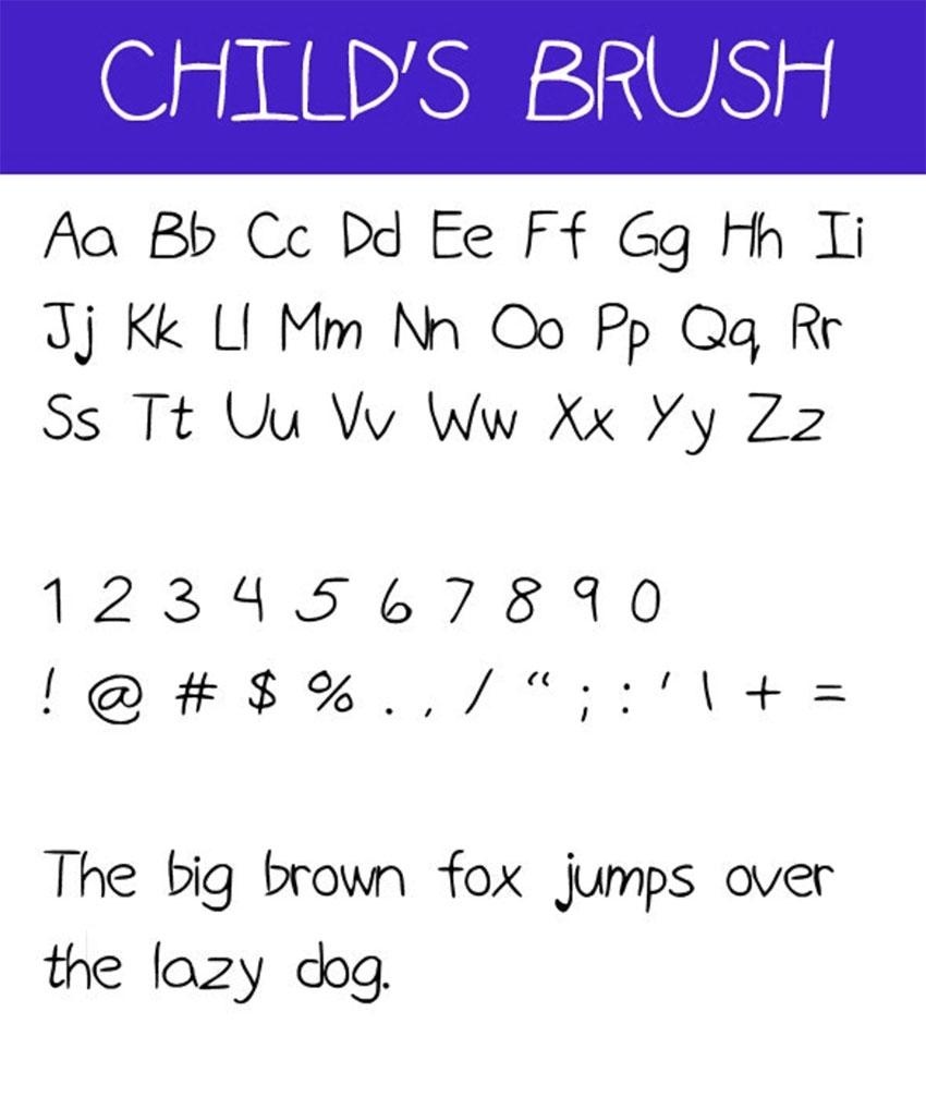 Childs Brush Kids Writing Font