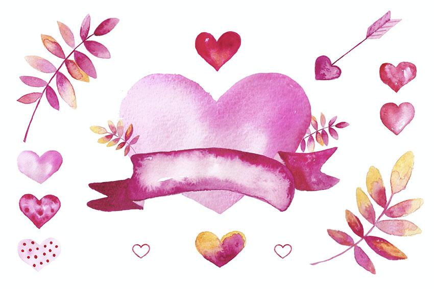 Watercolor Valentine Heart Graphic
