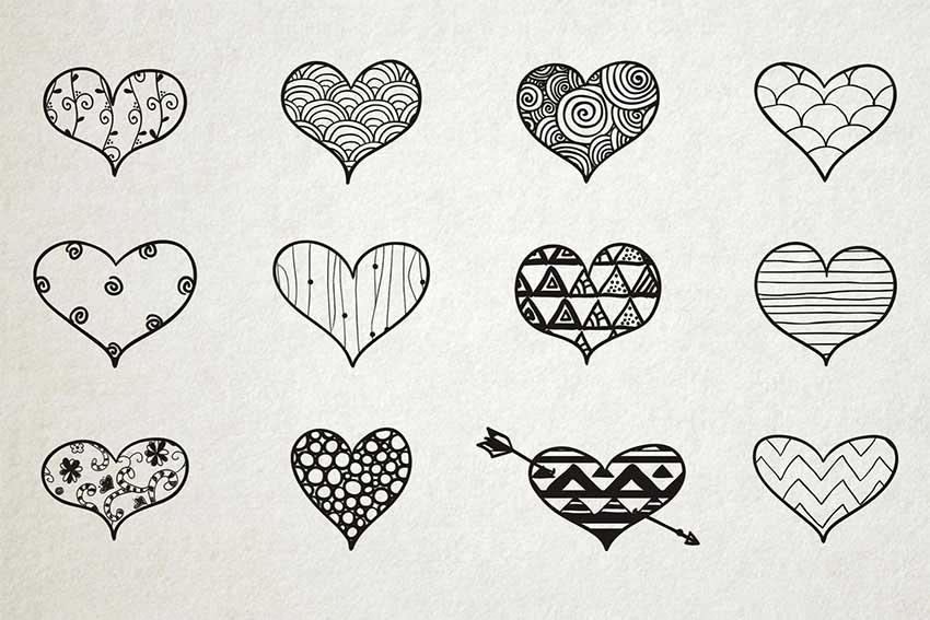Hand Drawn Heart Vector Set