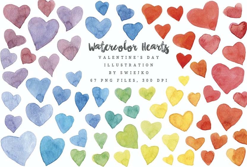 Watercolor Rainbow Heart Graphics Valentines Day