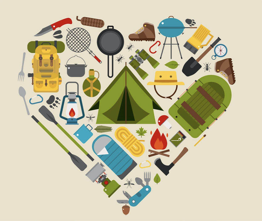 Love Camping Heart Icon Vector Illustration