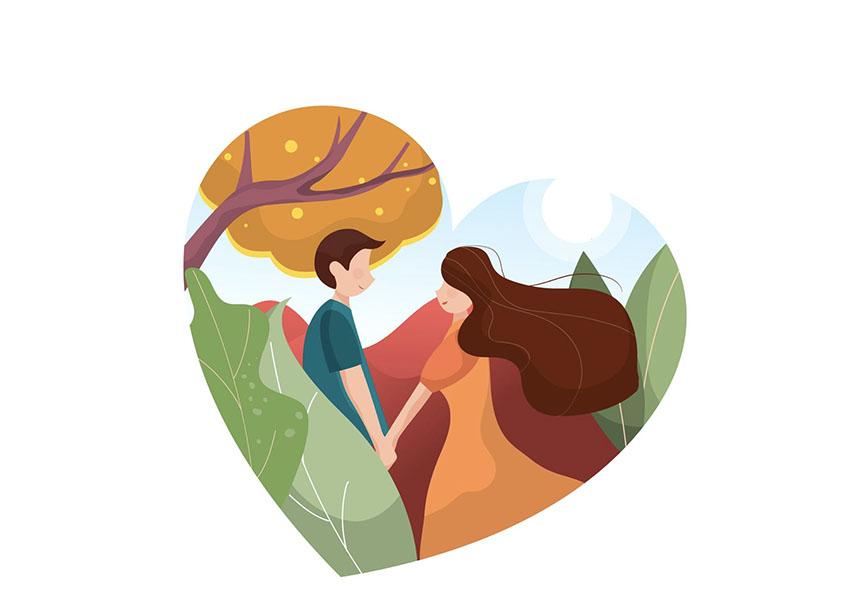 Love Story Heart Outline Vector Illustration