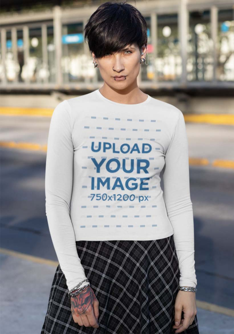 Long Sleeve Shirt Mockup of a Woman with a Long Skirt