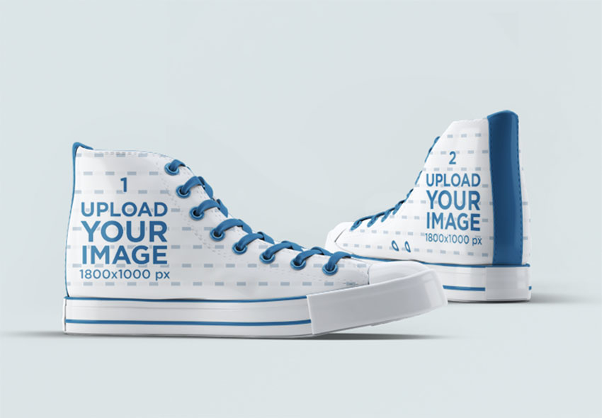 Sublimation Transfer Mockup of Canvas High Top Sneakers