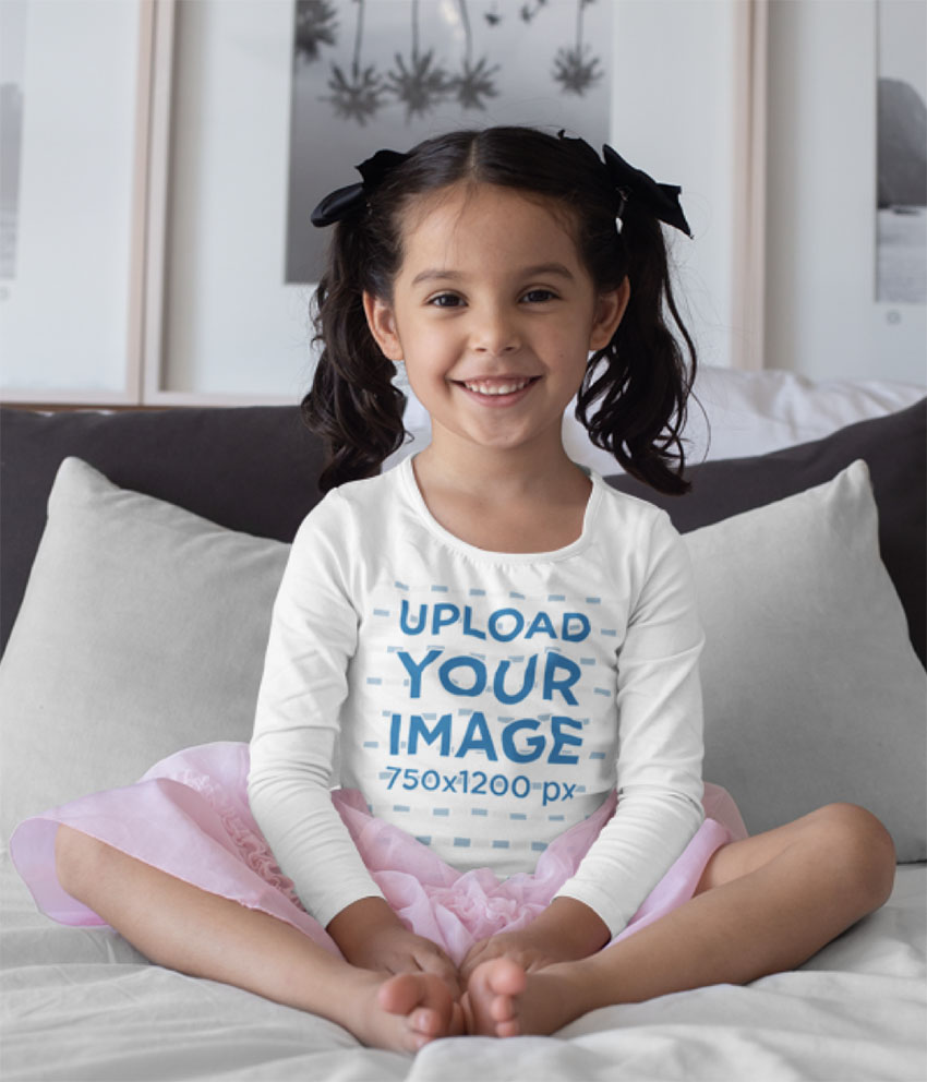 Long Sleeve Shirt Mockup of Girl Sitting in Bed
