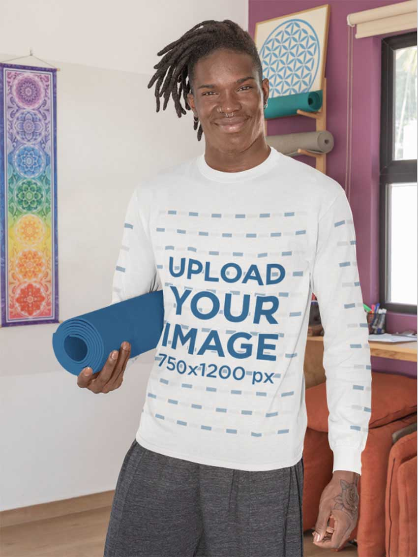 Long-Sleeve Tee Mockup Featuring a Man Ready to Practice Yoga