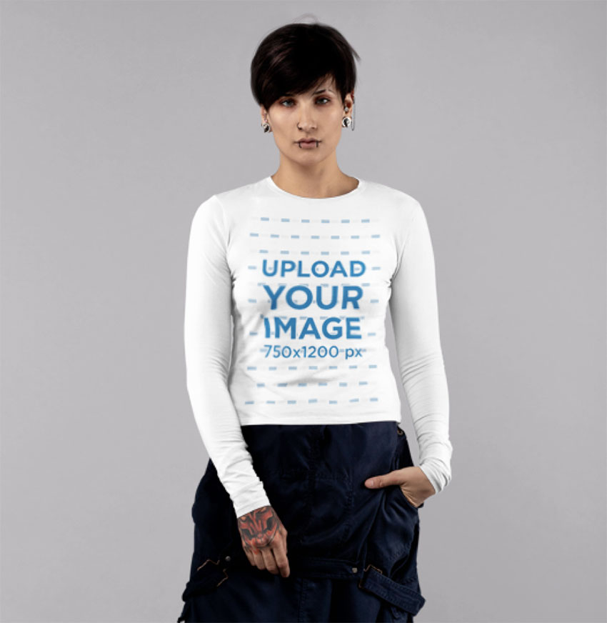 Long Sleeve T-Shirt Mockup Featuring Young Woman Against a Plain Background