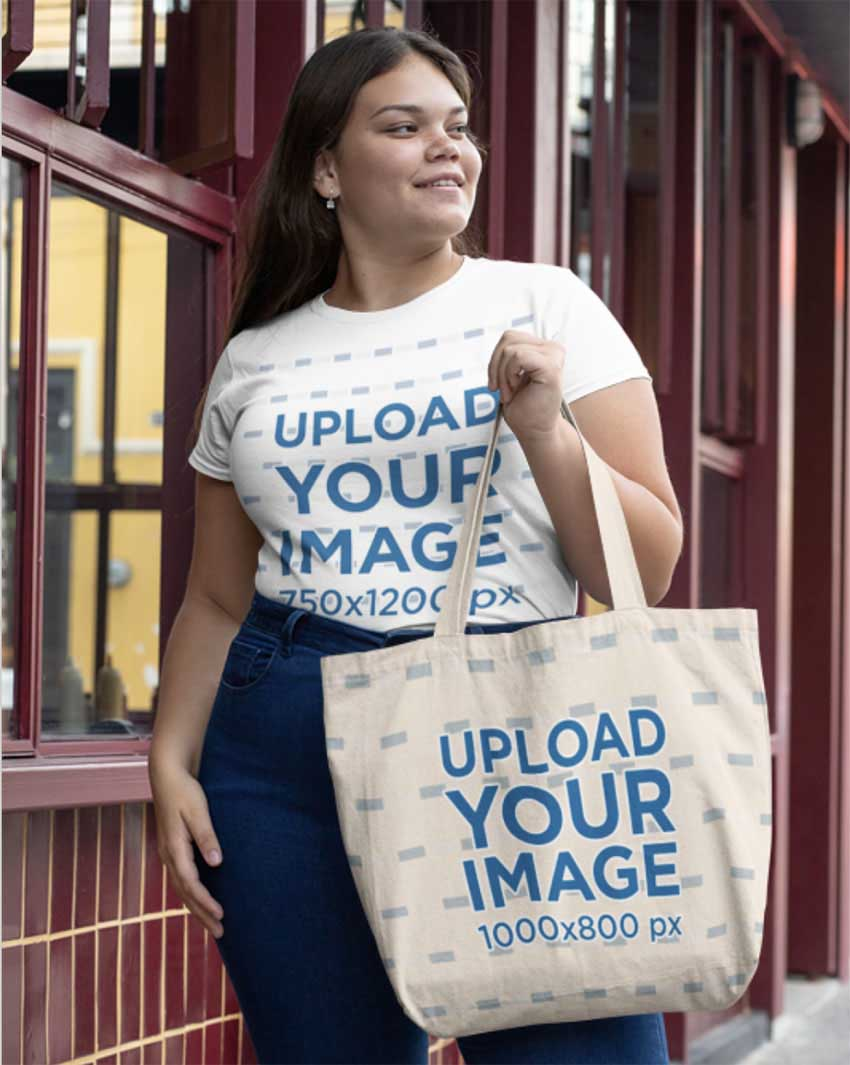 Mockup Featuring a Woman with a T-Shirt and a Sublimated Tote Bag