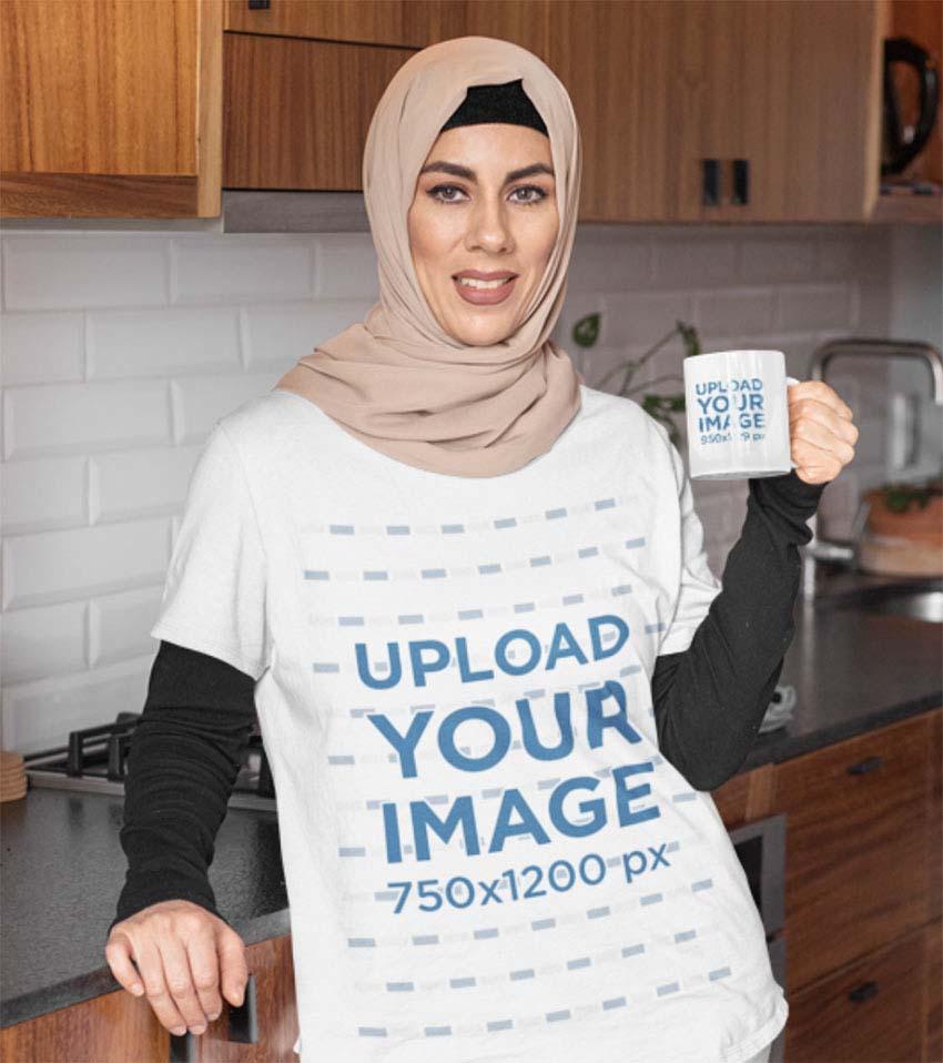Sublimation T-Shirt Mockup Template of a Woman with a Hijab and Mug