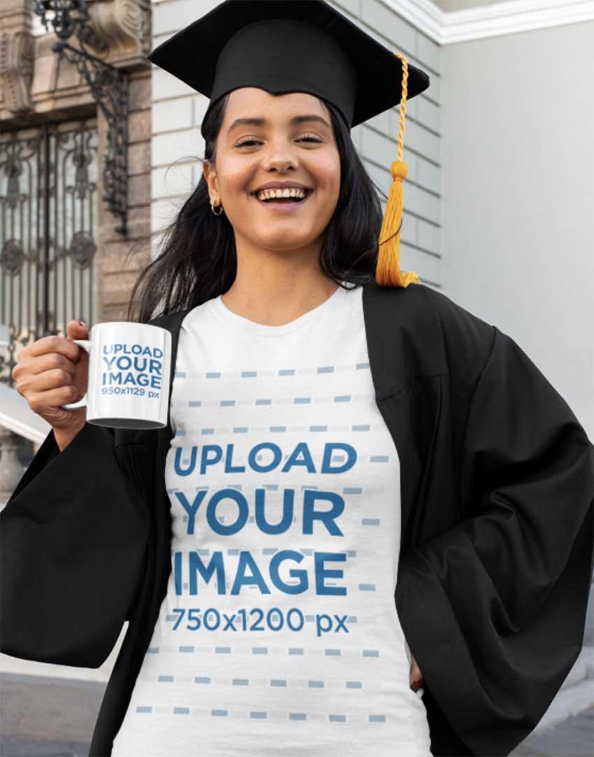 T-Shirt Mockup Featuring a Happy Graduate with a Coffee Mug