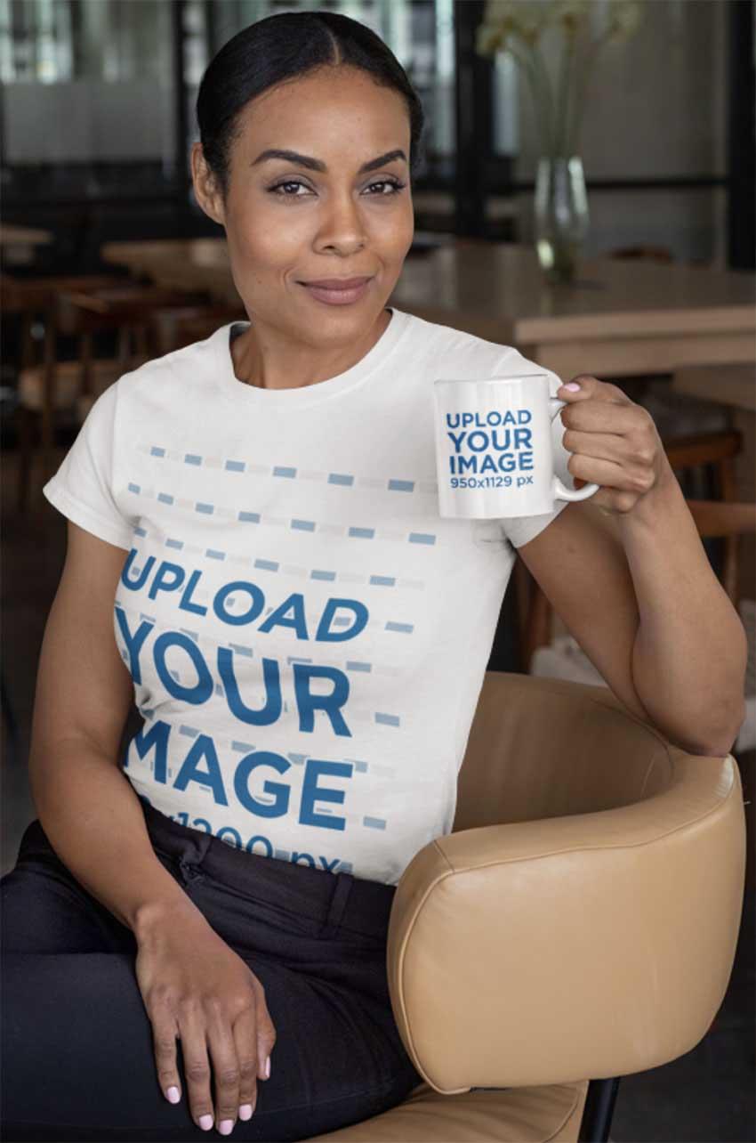 T-Shirt Mockup of a Woman Sitting on a Chair Holding an 11 oz Coffee Mug
