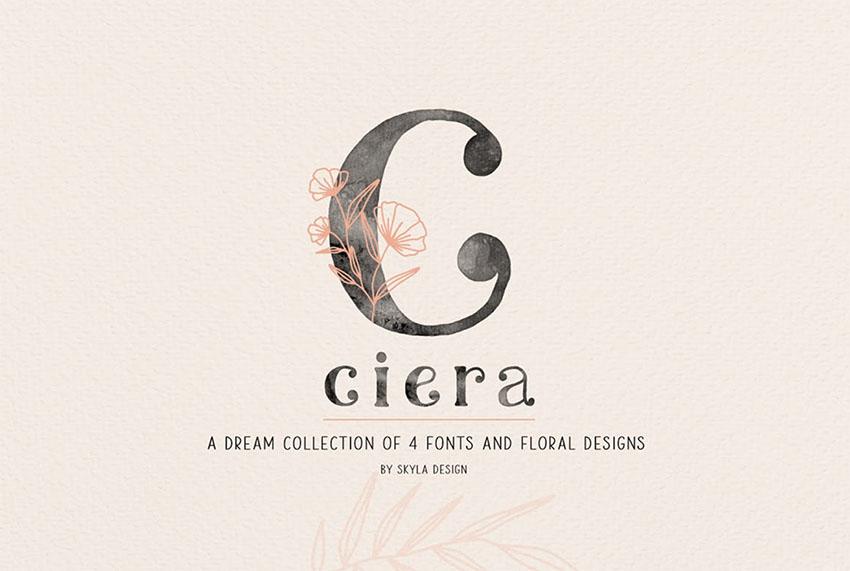 Ciera Watercolor SVG Calligraphy Font