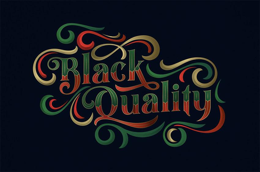 Black Quality Cursive Tattoo Font