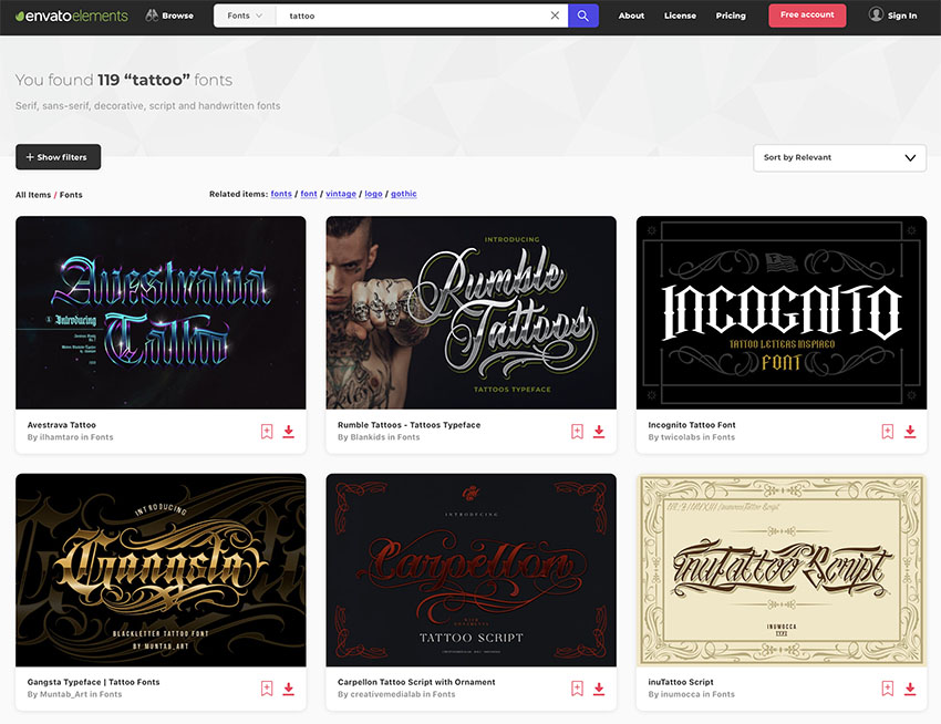 Unlimited Tattoo Font Downloads at Envato Elements