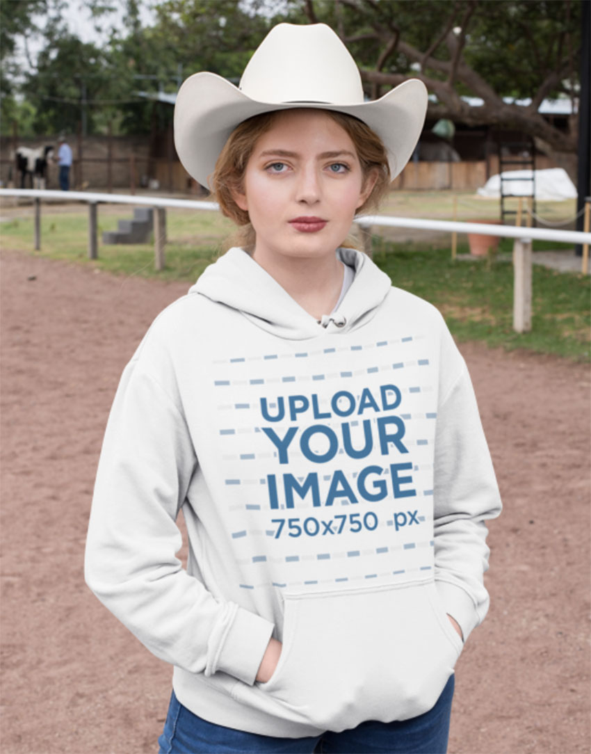 Cowgirl Pullover HoodieMockup Template