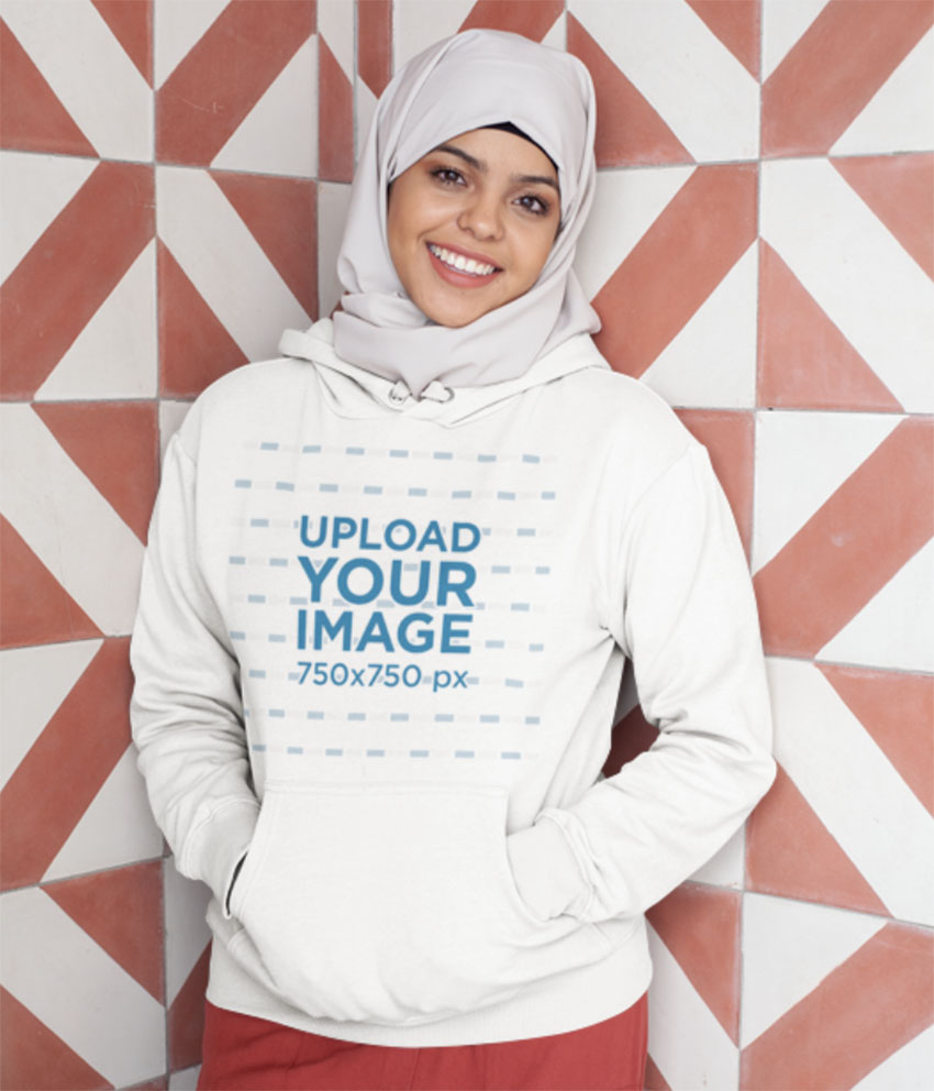 Mockup Hoodie Design Template of a Woman with a Hijab