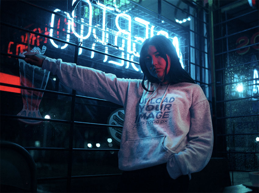 Hoodie Sweatshirt Mockup with Neon Lights