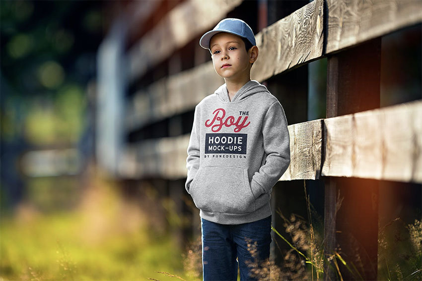 Blank Hoodie Template for Children